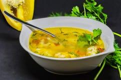 Una sopa deliciosa con las verduras y los pescados en un fondo negro Imagen de archivo libre de regalías