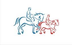 Una spazzola di due cavalli Immagine Stock