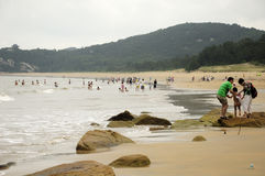 Una spiaggia Putuoshan Cina di 1000 punti Fotografia Stock