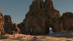 Una spiaggia rocciosa Immagine Stock