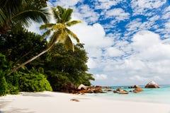Una spiaggia tropicale splendida, Seychelles Fotografia Stock