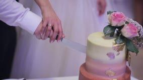 Una sposa e uno sposo che tagliano la loro torta di cerimonia nuziale Fine in su archivi video