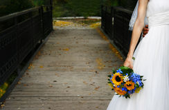 Una sposa su un ponticello Immagini Stock Libere da Diritti