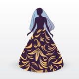 Una sposa in un vestito con gigli illustrazione di stock