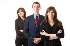 Una squadra di tre genti di affari. Fotografie Stock