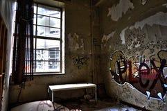 Una stanza abbandonata all'università Immagine Stock