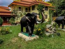 Una statua dell'elefante che si siede davanti ad un mortaio giallo che sviluppa w fotografia stock libera da diritti