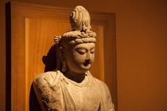 Una statua di pietra di buddismo nel museo nazionale della Cina Fotografie Stock Libere da Diritti