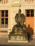 Una statua di pietra nella vecchia città della Germania Fotografie Stock
