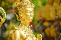 Una statua dorata di Kinnari nell'azione di sawasdee al tempio di Emerald Buddha (Wat Phra Kaew) Immagini Stock Libere da Diritti