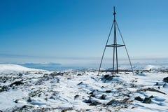 Una stazione di triangolazione a Kolyma fotografia stock