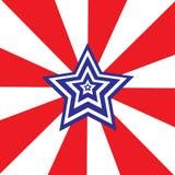 Una stella bianco-blu su un fondo a strisce bianco-e-rosso royalty illustrazione gratis
