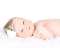 Una stenditura appena nata sveglia su una coperta Fotografia Stock