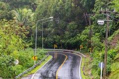 Una strada bagnata della curva il giorno di pioggia pesante Immagine Stock