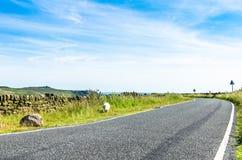 Una strada campestre a senso unico scenica con una pecora sola che pasce Fotografia Stock
