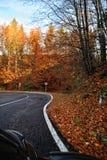 Una strada curvante colourful di autunno Fotografie Stock Libere da Diritti