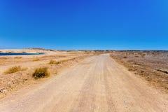 Una strada del deserto Fotografia Stock Libera da Diritti
