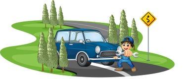 Una strada della curva con un ragazzo e un'automobile royalty illustrazione gratis