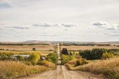 Una strada della ghiaia attraverso la campagna collinosa Fotografia Stock Libera da Diritti