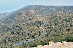 Una strada della montagna di bobina con una vista dell'occhio del ` s dell'uccello di Agadir, Morocc Immagine Stock Libera da Diritti