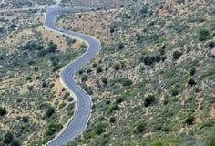 Una strada della montagna di bobina con una vista dell'occhio del ` s dell'uccello di Agadir, Morocc Fotografia Stock Libera da Diritti