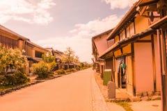 Una strada e la vecchia città di Unno-juku è una città di posta e dozzine di vecchie costruzioni meravigliosamente sono state con fotografie stock