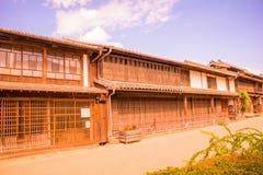 Una strada e la vecchia città di Unno-juku è una città di posta e dozzine di vecchie costruzioni meravigliosamente sono state con fotografia stock libera da diritti