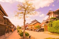 Una strada e la vecchia città di Unno-juku è una città di posta e dozzine di vecchie costruzioni meravigliosamente sono state con fotografia stock