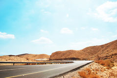 Una strada nel deserto di Negev Fotografie Stock