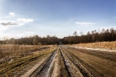 Una strada non asfaltata in primavera Immagini Stock Libere da Diritti