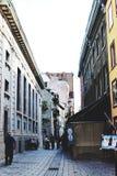Una stradina in vecchia Quebec fotografia stock libera da diritti