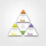 Una strategia di 3 punti nella forma del triangolo per il riuscito affare Infographic EPS10 illustrazione di stock