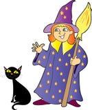 Una strega della ragazza con un gatto nero Immagine Stock Libera da Diritti