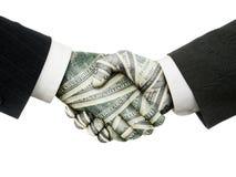 Stretta di mano del dollaro Immagini Stock Libere da Diritti