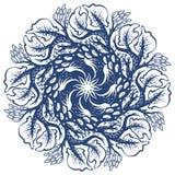 Una struttura disegnata a mano rotonda con gli alberi, progettazione monocromatica illustrazione di stock