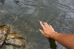 Una superficie natural del agua del tacto de la mano Imagen de archivo