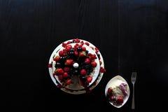 Una tabla de la torta de la fruta Imagen de archivo