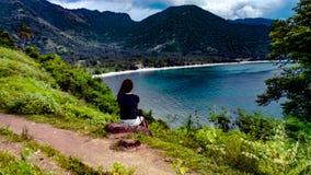 Una tarde en la bahía de Tanjung Aan, Lombok Indonesia foto de archivo