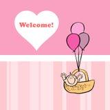 Una tarjeta agradable para dar la bienvenida a un bebé Foto de archivo