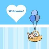 Una tarjeta agradable para dar la bienvenida a un bebé Imagen de archivo