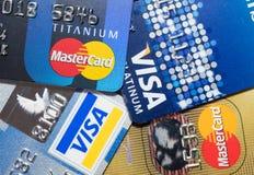 Una tarjeta de crédito ascendente más cercana Imagen de archivo