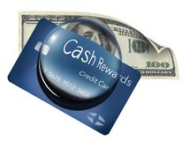 Una tarjeta de crédito de las recompensas del efectivo se ve a través una bóveda de la lupa Cientos billetes de dólar también se  ilustración del vector