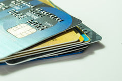 Una tarjeta de crédito ascendente más cercana Fotografía de archivo