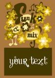 Una tarjeta de la invitación coloreada y retra Imagen de archivo libre de regalías