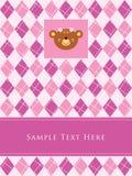 Una tarjeta de llegada del cumpleaños de la muchacha del peluche Fotos de archivo libres de regalías