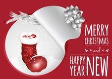 Una tarjeta de moda con el abeto y las bolas de la bota de la Navidad ilustración del vector