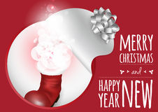 Una tarjeta de moda con la bota de la Navidad y el resplandor mágico stock de ilustración