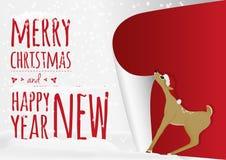 Una tarjeta de Navidad con los ciervos dulces del bebé que ruedan encima del viejo año stock de ilustración