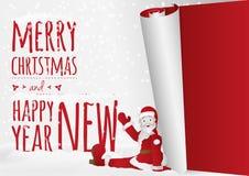 Una tarjeta de Navidad con sentar Papá Noel que rueda encima del viejo año libre illustration