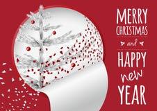 Una tarjeta de Navidad de moda con confeti y la aleta del abeto stock de ilustración